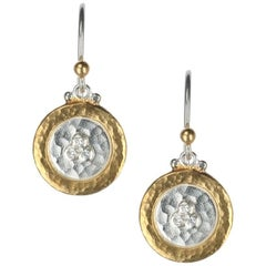 """Gurhan """"Lush"""" Diamond Disc Earrings in Yellow Gold and Sterling Silver"""