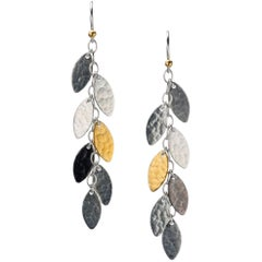 """Gurhan """"Willow"""" Drop Earrings in Yellow Gold and Silver"""