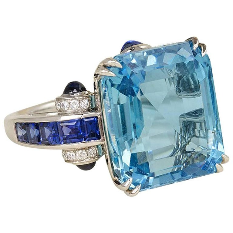 1940s Aquamarine, Sapphire and Diamond Cocktail Ring