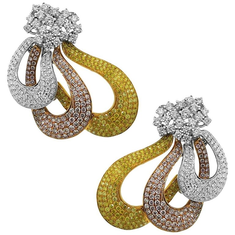 Pink, Yellow and White Diamond Tri-Color Earrings
