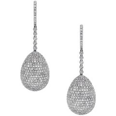 Pave Set Diamond Ball Drop Earrings
