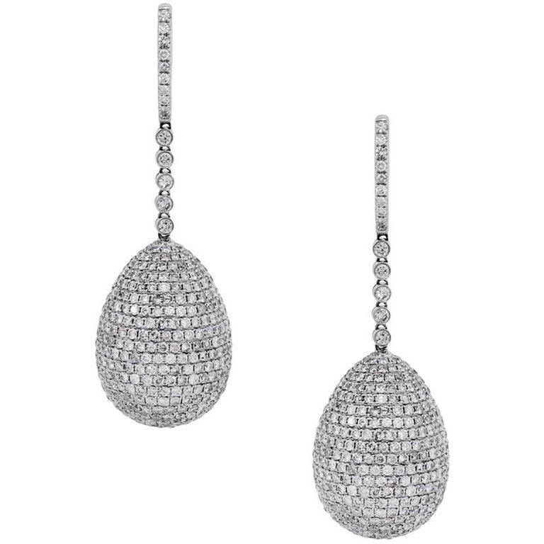 Pave Set Diamond Ball Drop Earrings