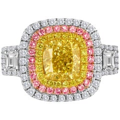 GIA Certified 2.53 Carat Fancy Yellow Diamond Triple Halo Three-Color Gold Ring