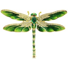 Modern  Emerald Enamel Gold Dragonfly Brooch