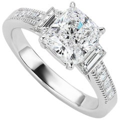 GIA Certified 2.01 Carat Cushion Cut Diamond Platinum Engagement Ring