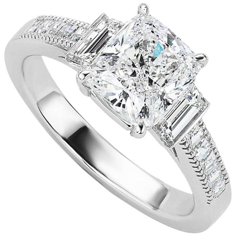 GIA Certified 2.01 Carat Cushion Cut Diamond Platinum Engagement Ring