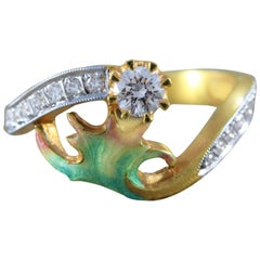 Masriera Diamond Enamel Gold Ring