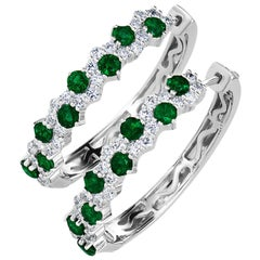 Emerald and Diamond Hoop Earrings in 18 Karat