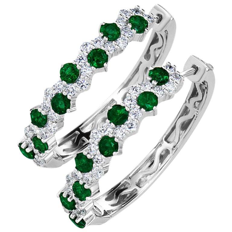 Emerald and Diamond Hoop Earrings in 18 Karat