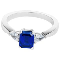 1.12 Carat Sapphire and Diamond 18K White Gold Ring