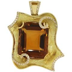 115.91 Carat Citrine and Diamond Pendant