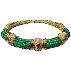 18 Karat Yellow Gold Emerald Bead, Ruby and Diamond Choker