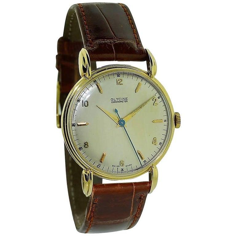 Glycine Yellow Gold Art Deco Classic Round Manual Watch