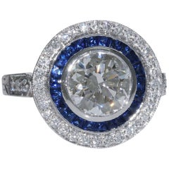 2.18 Carat i-Si1 Round Brilliant Diamond Sapphire Ring GIA Certified Platinum