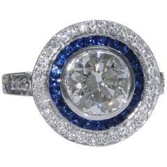 2.18 Carat i-Si1 Round Brilliant Diamond Sapphire Ring GIA Certified Platinum