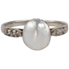Edwardian Large Natural Saltwater Pearl Diamond Ring
