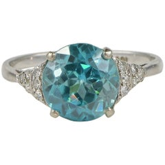 Art Deco 5.80 Carat Natural No Heat Zircon Diamond Ring