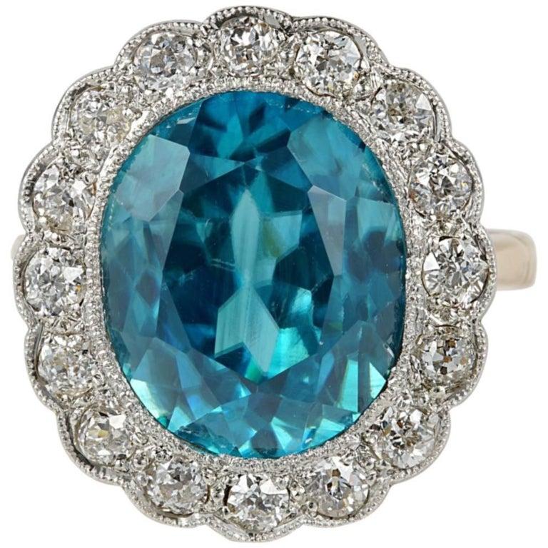 Edwardian 11.05 Carat Natural Blue Zircon 1.30 Carat Diamond Rare Ring