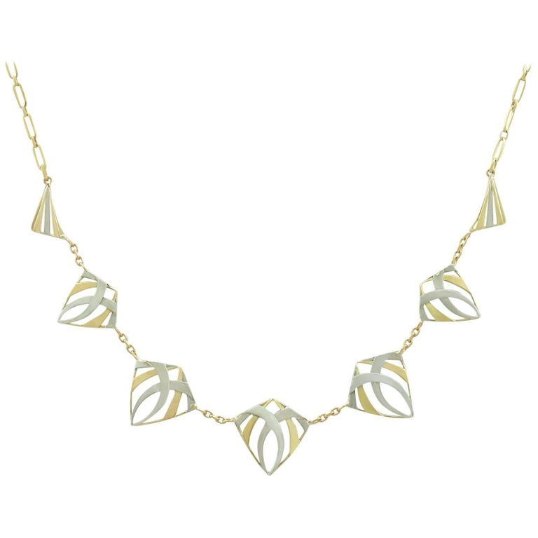 Antique French Yellow Gold and White Gold Necklace, circa 1910