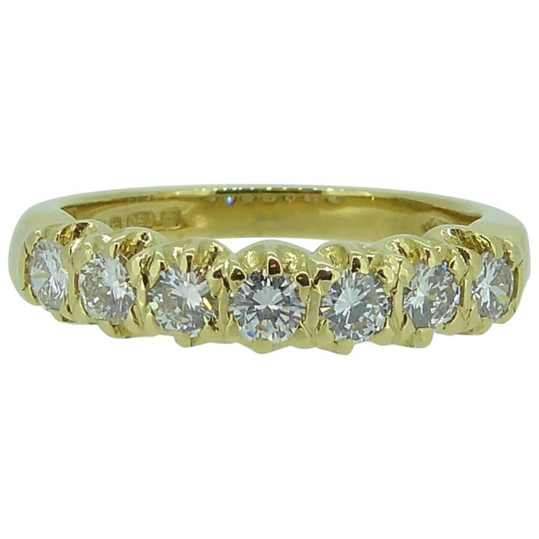 Vintage 0.75 Carat Diamond Eternity Ring, 18 Carat Yellow Gold Band For Sale