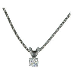 Vintage 0.65 Carat Diamond Solitaire Necklace with 18 Carat White Gold Chain