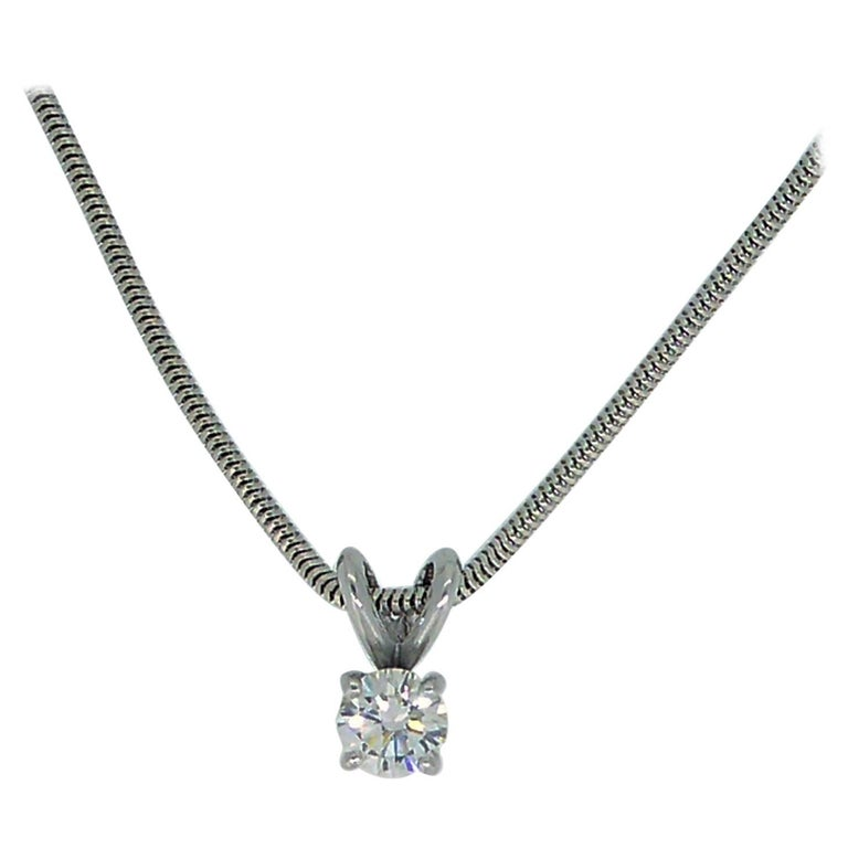 Vintage 0.65 Carat Diamond Solitaire Necklace with 18 Carat White Gold Chain For Sale