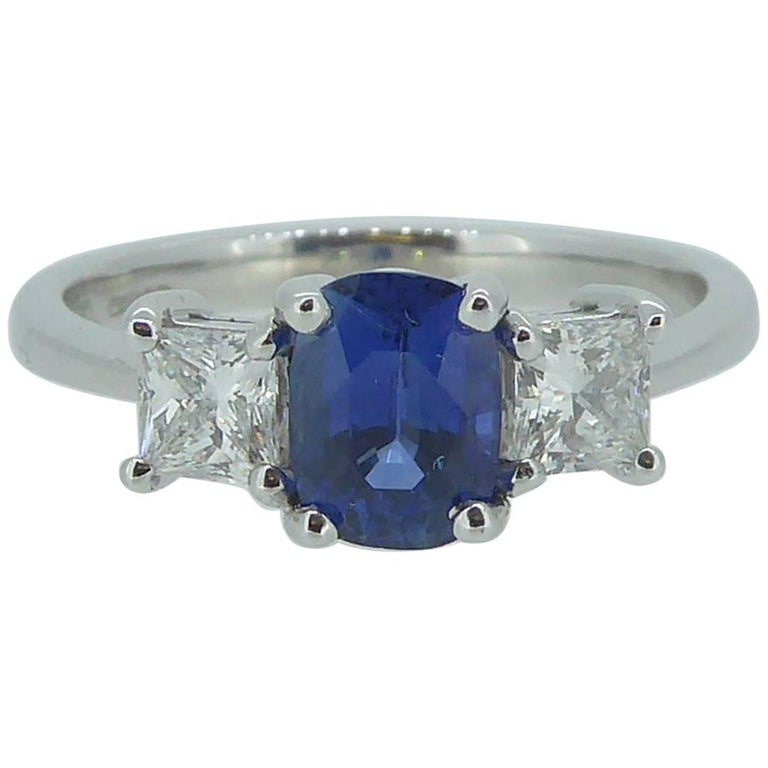 Sapphire and Diamond Engagement Ring in Traditional Style For Sale