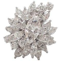 5 Carat Marquise Platinum Cocktail Ring
