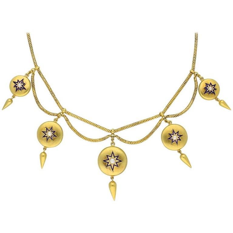 Antique Pearl and Enamel Necklace, circa 1865