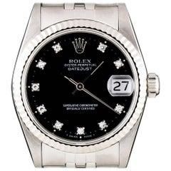 Rolex stainless Steel Datejust Black Diamond Dial automatic wristwatch