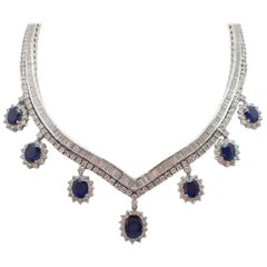 22 Carat Sapphire and Diamond Necklace in 18 Karat White Gold