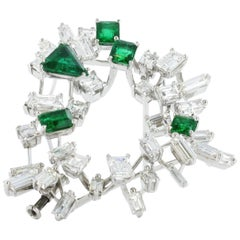 Emerald and Diamond Cluster Brooch by Meister
