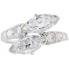 Platinum Marquise Diamonds 2.65 Carat by Pass Ring