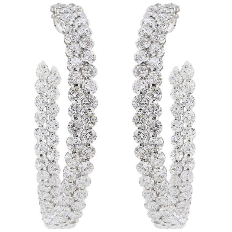 Double Diamond Hoop Earrings 11.70 Carat