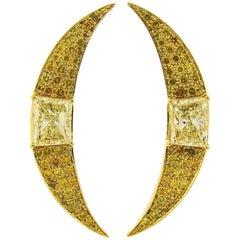 Fancy Yellow Diamond Gold Earrings