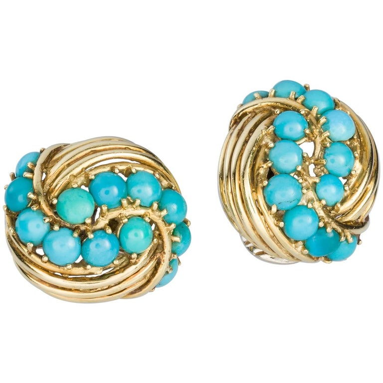 Tiffany & Co. Turquoise 18 Karat Yellow Gold Earclips