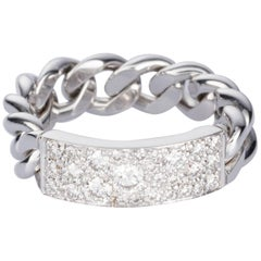 Christian Dior 18 Karat White Gold and Diamond Chain Ring