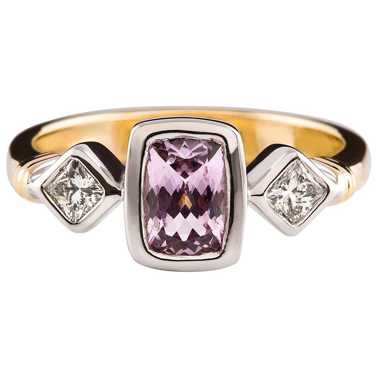 Kian Design 18 Carat Two-Tone Cushion Cut Pink Sapphire and Diamond Ring