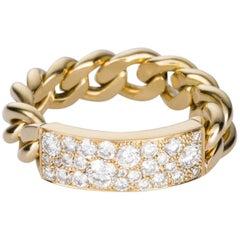 Christian Dior 18 Karat Yellow Gold and Diamond Chain Ring