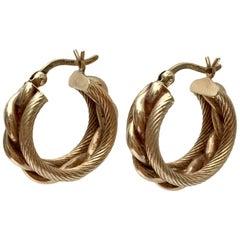Gold Hoop Earrings Twisted Rope Braided Nautical Vintage Chunky Hoops
