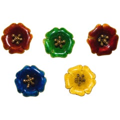 18 Karat Yellow Gold and Yellow Green Blue Red Enamel Brooches