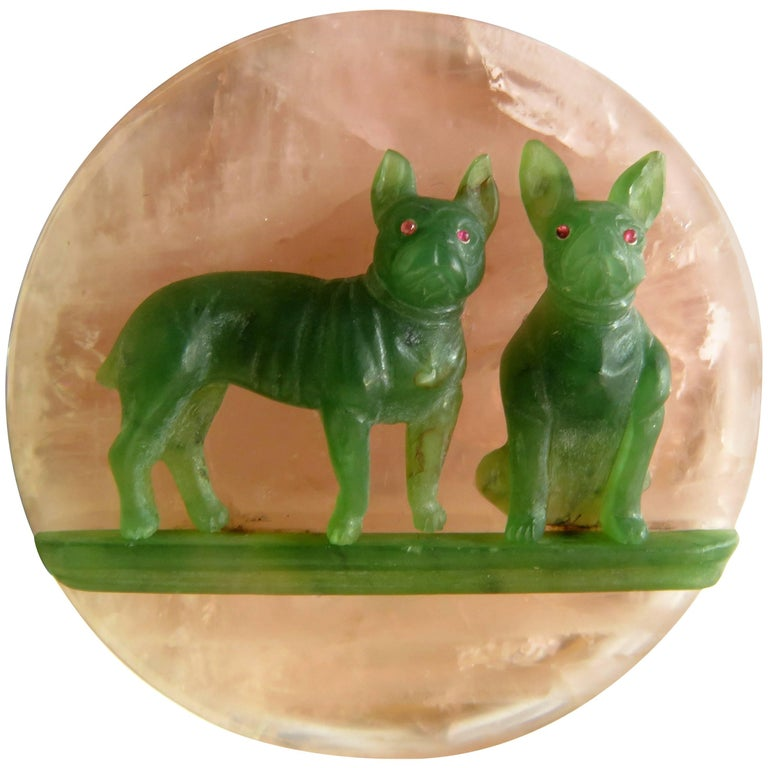 Rose Quartz Jade Ruby Carved French Bulldogs Gold Hinged Box