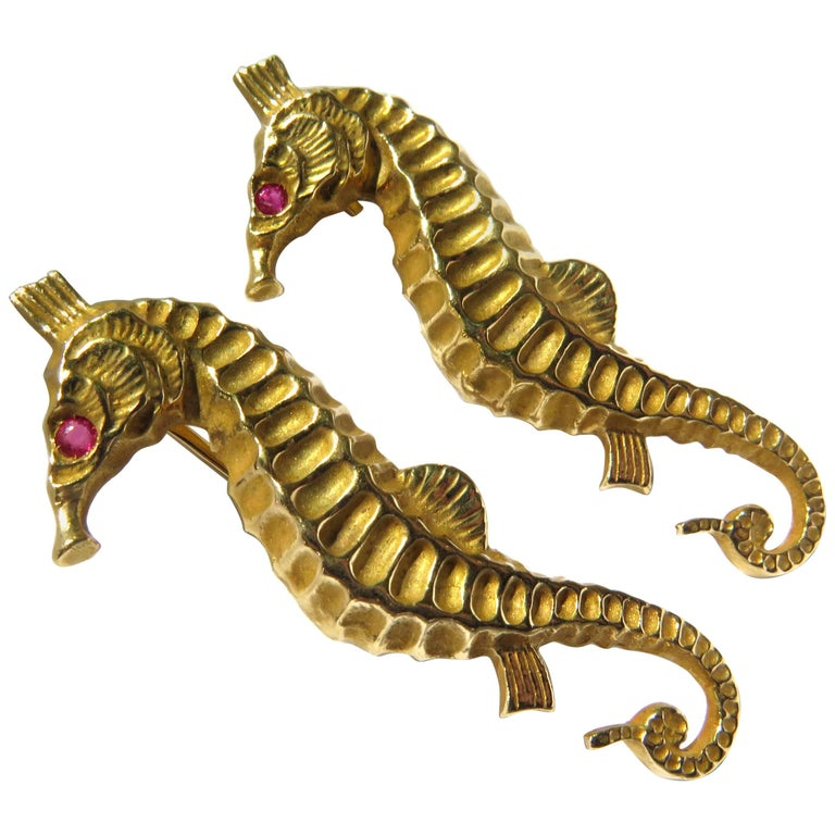Two Realistic Seahorse Gold Pins with Ruby Eyes