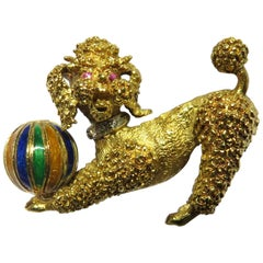 Playful Poodle Dog with Enamel Ball, Ruby Eyes and Diamond Collar Gold Pin