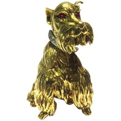 Schnauzer Ruby Diamond Gold Dog Pin