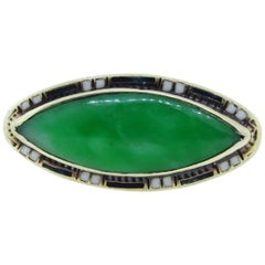 Egyptian Revival Jade and Enamel Ring