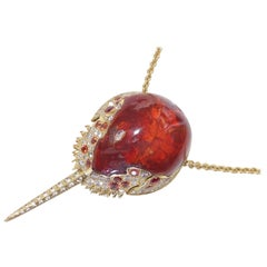 Horseshoe Crab Pendant with Mexican Fire Opal, Orange Sapphires and Diamonds