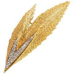 Hammerman Brothers Gold Diamond V Shaped Brooch