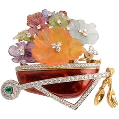 Valentin Magro Wheelbarrow Brooch Filled with Carved Gem Flowers