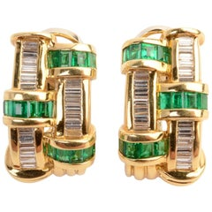 Charles Krypell Emerald Diamond Earrings